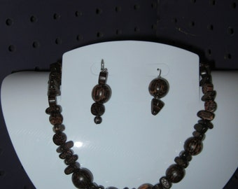 BROWN WOODEN BEADS Jewelry Set