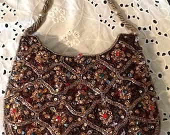 Vintage Rhinestone and Embroidered Purse