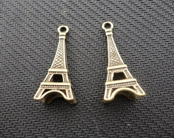 20pcs of Antique Bronze 3D Paris Eiffel Tower Pendants Huge 12mmx13mmx39mm