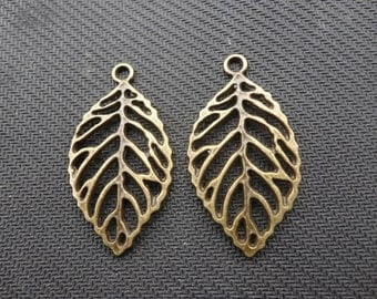 20 pcs of Antique Bronze Filigree Leaf Pendants Charms Size:50mmx27mm