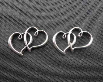 20 pcs of Antique Silver Double Heart Charms 20mmx32mm