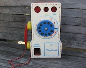 Vintage Playskool wooden telephone toy