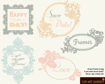 20 Lace frames 02. Digital clipart elements for Personal and Commercial use. (webdesign, paper crafts, card making, scrapbooking)