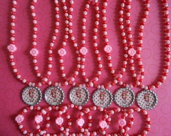 Strawberry Shortcake Party Favor Stretch Necklace and Bracelet Set of 6