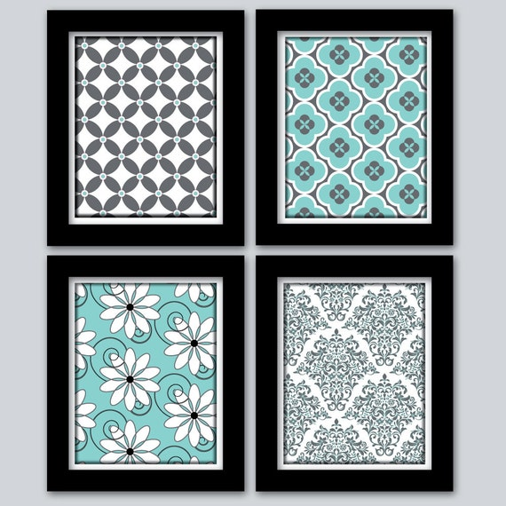 Teal Color Wall Decor : Items similar to teal and grey home decor wall art digital