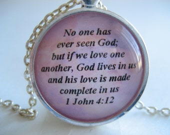 Scripture Necklace Bible Verse 1 John 4:12 No One Has Ever Seen God