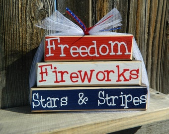 "4th of July wood ""MINI"" stacker block set--Freedom Fireworks Stars & Stripes"