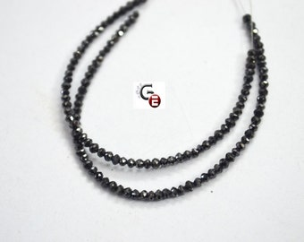 1 inch Strand of Spectacular Black DIAMOND Faceted Rondelle Beads -2.30 to 2.60 mm