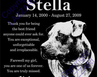 "Personalized Pit Bull Terrier Dog Granite Pet Memorial 12x12 Inch Engraved Grave Marker Plaque ""Stella"""