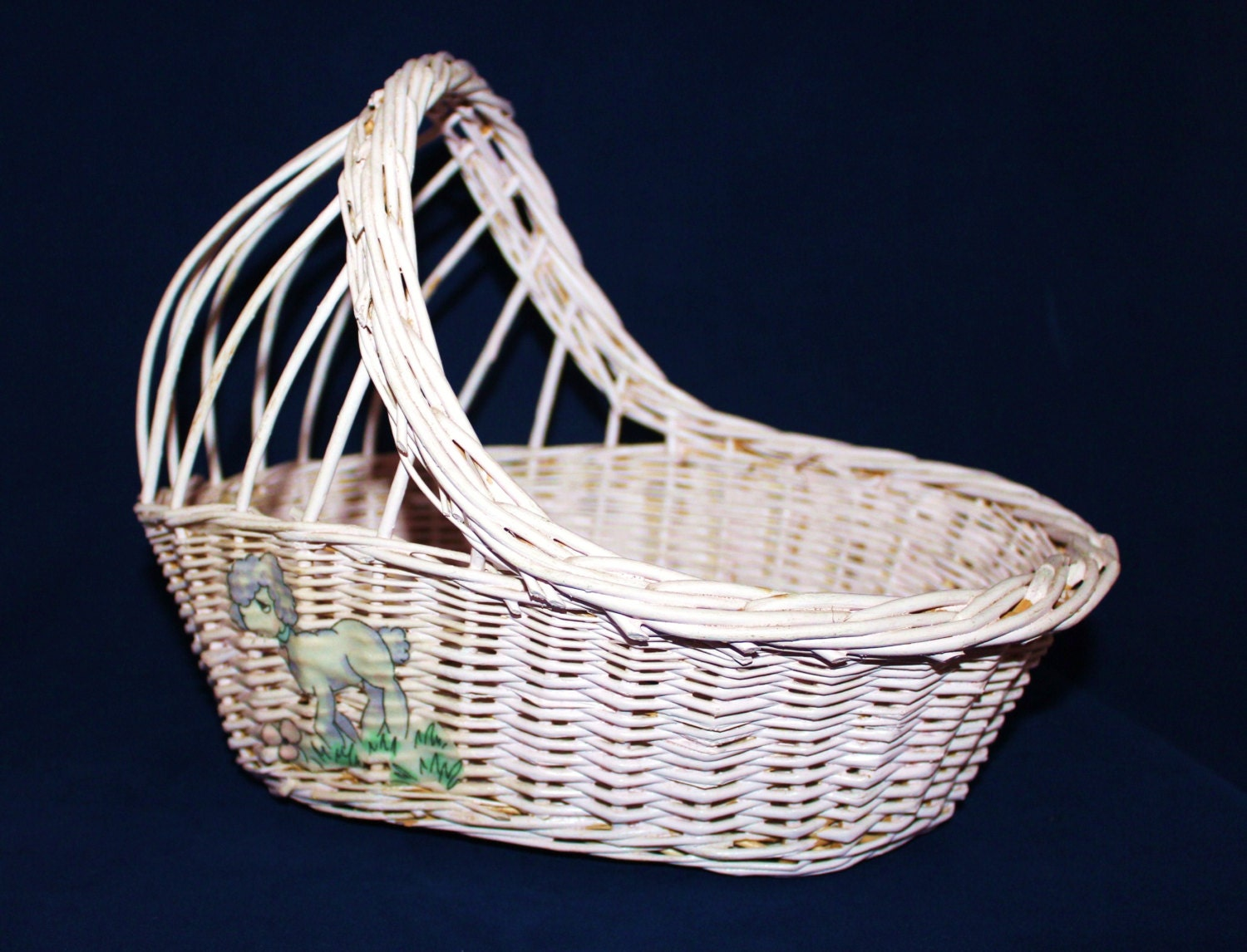 Ts Berry Furniture Wicker baby doll cradle Easter basket vintage toy