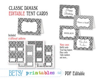Editable buffet cards, editable tent cards, place cards, damask, printable  - INSTANT DOWNLOAD  043