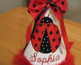 red ladybug birthday party hat, Girls first birthday hat,smash cake hat, name included