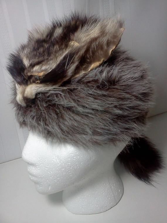 Vintage Coonskin Cap Racoon Davey Crocket Hat By