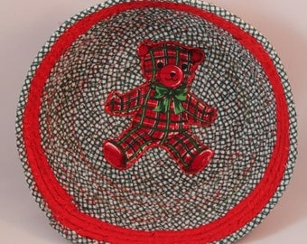 teddy bear coiled fabric basket