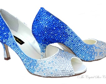 Cobalt Navy Blue fusion swarovski crystal wedding bridal Low Heel peeptoe shoes