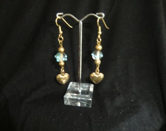 Earrings, glass beads, turquoise,  with little hearts, fine