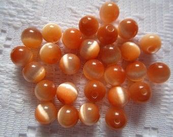 25  Tangarine Orange Round Glass Cats Eye Beads  6mm