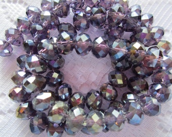 24  Dark Grape Plum Purple AB Faceted Rondelle Crystal Beads  8mm x 6mm