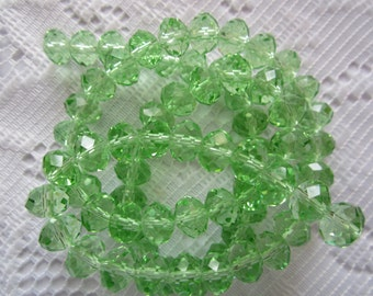 24  Light Leaf Green Faceted Rondelle Crystal Beads  8mm x 6m