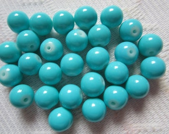 27  Teal Blue Opaque Round Glass Beads  8mm