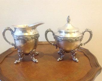 Vintage Silver on Copper Cream and Sugar Set