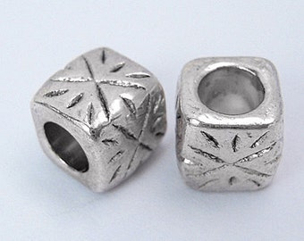 Tibetan Silver Bead, Square, Antique Silver, 9mm x 9mm, 5.5mm hole, 20 beads