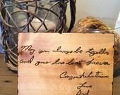 4x6 Custom Wood Burned Handwriting on a Decorative Plaque