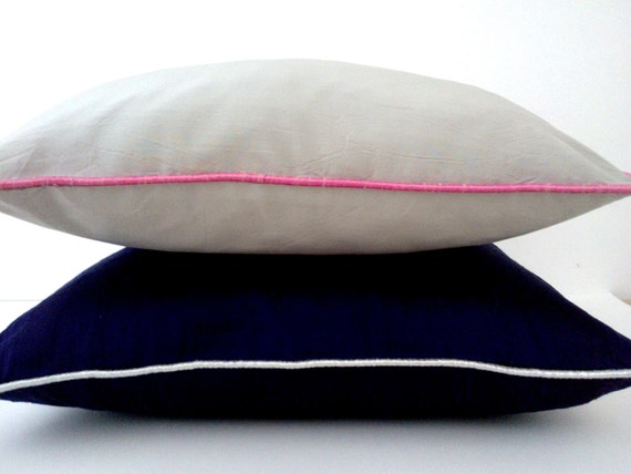 Items similar to Two Throw Pillows, Midnight Blue and Pastel Grey Modern Home Accent on Etsy