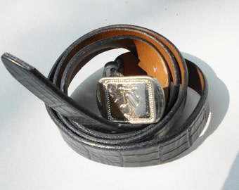 vintage leather belt Nautica black full grain cowhide Size 38 from the 1980s  Free USA Shipping