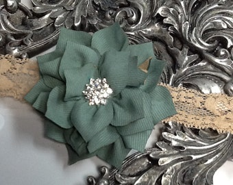 Sage green headband, sage green flower with blingy center on a lace headband, girls headband, baby headband, green headband, flower headband