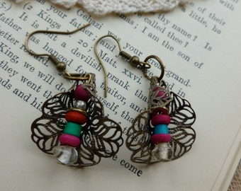 Handmade Filigree Brass Flower Bead Earrings, Dangle Earrings