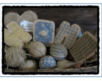 Sweet home letters primitive decor burlap blue yellow cheesecloth