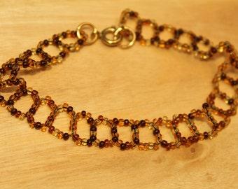 Opaque Brown Tone Circular Woven Beaded Bracelet