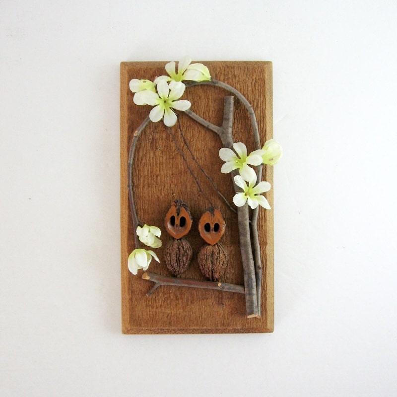 Wooden Owl Wall Decor : Vintage wood owl art found object wall sculpture