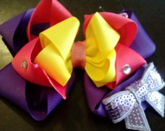Stacked bow with sequin bow and gems