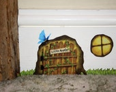 Rustic Fairy/ Pixie Door with Window and Grass Stickers Decals