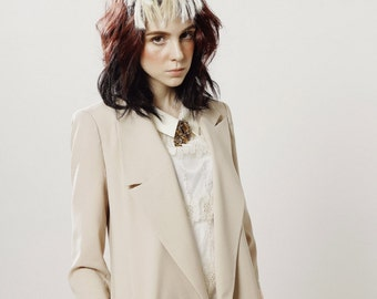 Summer Nietzsche Modern Structured Jacket-BEIGE