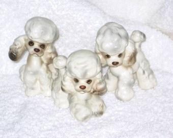 Vintage Lefton  Spring Easter Poodle Dog Family puppies Porcelain figurine  Japan Foil Label Napco