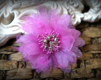 Rhinestone Centered Pink Organza Bridal Crafting Fabric Flowers Approx. 3.5 inches across FL-016