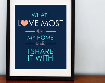 What I love most about my home Print - 8x10 - Any Color Combo you want