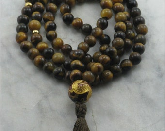 Golden Dragon Mala Necklace - Tiger Eye, Dragon Guru, Buddhist Prayer Beads, 108 Mala Beads, Balance, Vitality