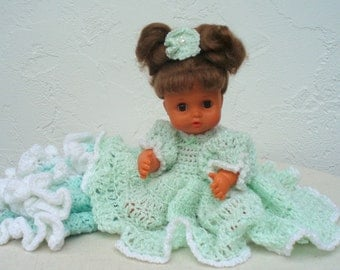 Collectible Doll with Iris Green Crocheted Dress and Blankie