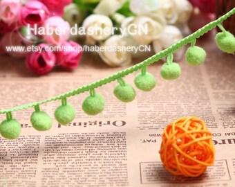 2 Meter PB58 Lime Apple Green Pom Pom Trim Ball Ø 1.5cm