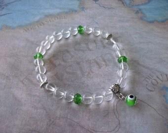 Crystal clear quartz (evil eye) bracelet