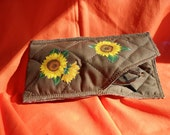 soft eye glasses or sun glasses case,  dbl sided quilt   sun flower appliques, right handed