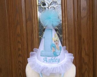 Girls 1st Birthday Party Hat - Cinderella Birthday Hat -  Princess Birthday  Hat