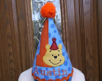 Boys First Birthday Party Hat -  Loveable Winnie The Pooh Hat - Free Personalization