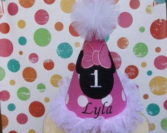 First Birthday Party Hat - Minnie  Mouse Birthday Hat - Birthday  - Free Personalization