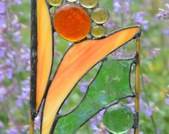 Stained Glass, Stained Glass Yard Art, Garden Sculpture, Garden Decor, Home Decor, Choice of Garden Stake or Hanging Panel, 'Spring Bouquet'
