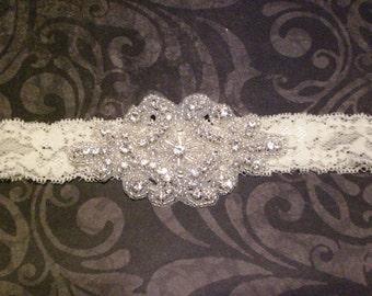 Womens Ivory Lace Rhinestone Headband GORGEOUS! Vintage Bridal Headband - Prom Headband - - Flower Girl Headband - Bridesmaid Headband